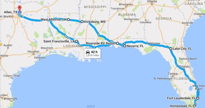 Map Florida Trip