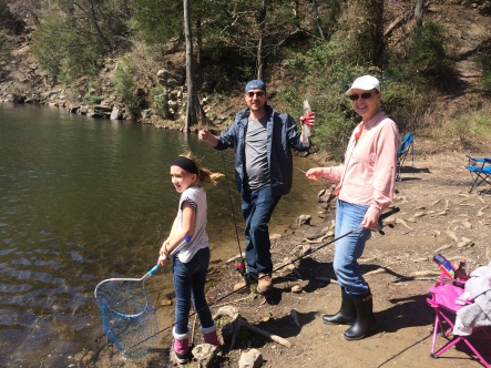 Shahn's first catch in our new found fishing spot