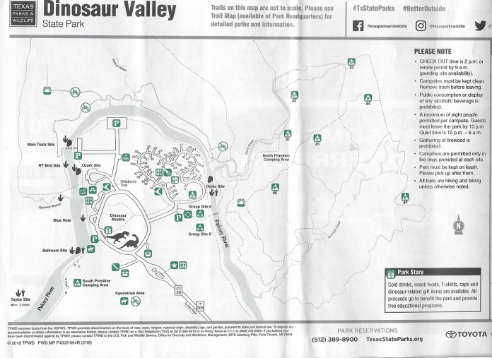Dinosaur Valley State Park Map