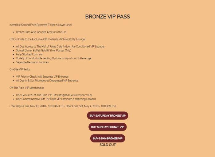 Bronze VIP Passes