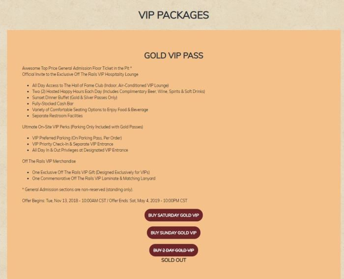 Gold VIP Pases