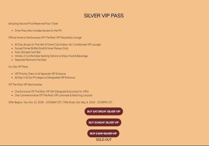 Silver VIP Passes
