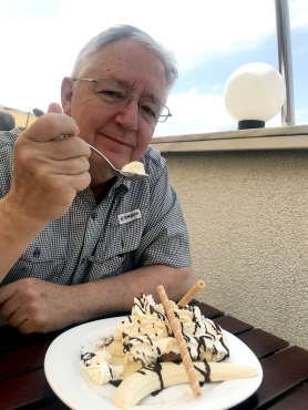 Bill and his banana split at the Abbey