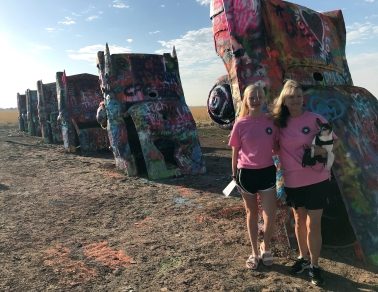 Girls with Gabby CadillacRanch